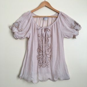 Bohemian Embroidered Peasant Blouse